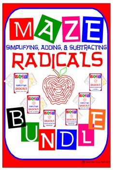 Maze - BUNDLE Radicals - Simplifying, Adding, & Subtractin