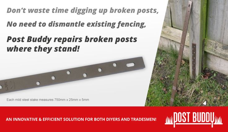 Repairs rotten, leaning fence posts where they stand. No digging, no need to dismantle the fence.