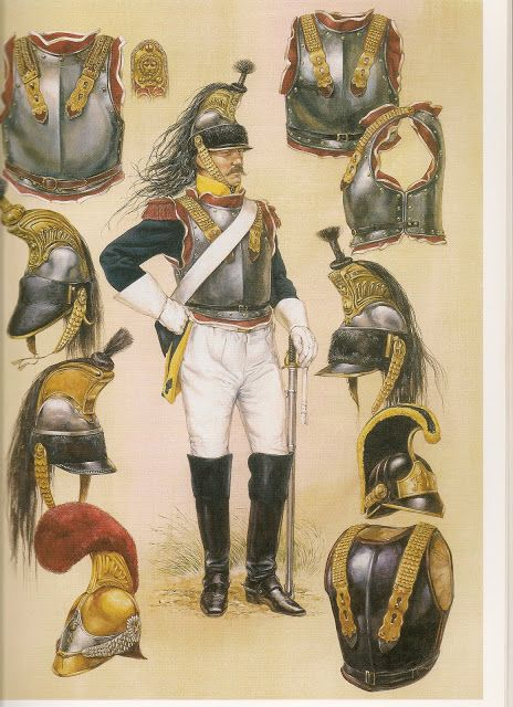 French cuirassier, 1812. La Grande Armee had 12 cuirassier regiments (360-400 troops each); three more were raised by 1812. The number dropped back to twelve in 1813. At lower right is Russian cuirassier helmet & cuirass