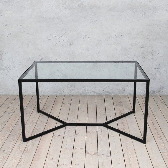 Tower Industrial Style Solid Glass Metal Dining Table Modern Etsy