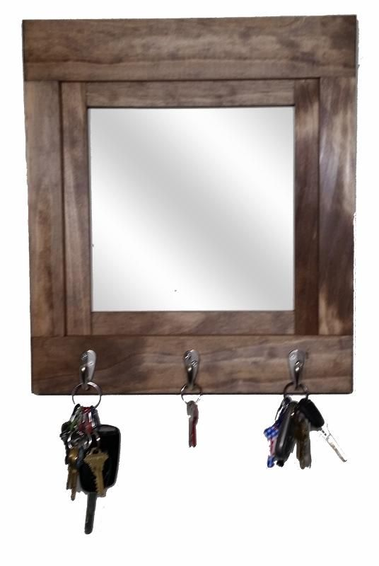 farmhouse stained wood framed mirror key rack with 3 hooks in 2019 rh pinterest com