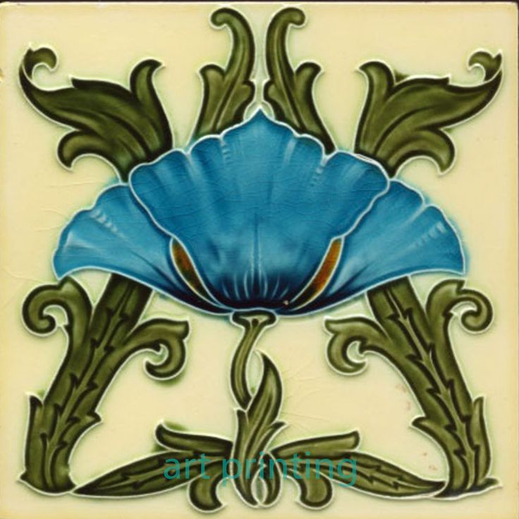 Art Nouveau Ceramic decorative wall tile 6 X 6 Inches #17