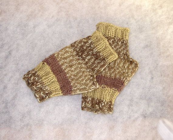 Handknit Fingerless Gloves/Mitts Camo Green and Brown by CabinLil, $18.00