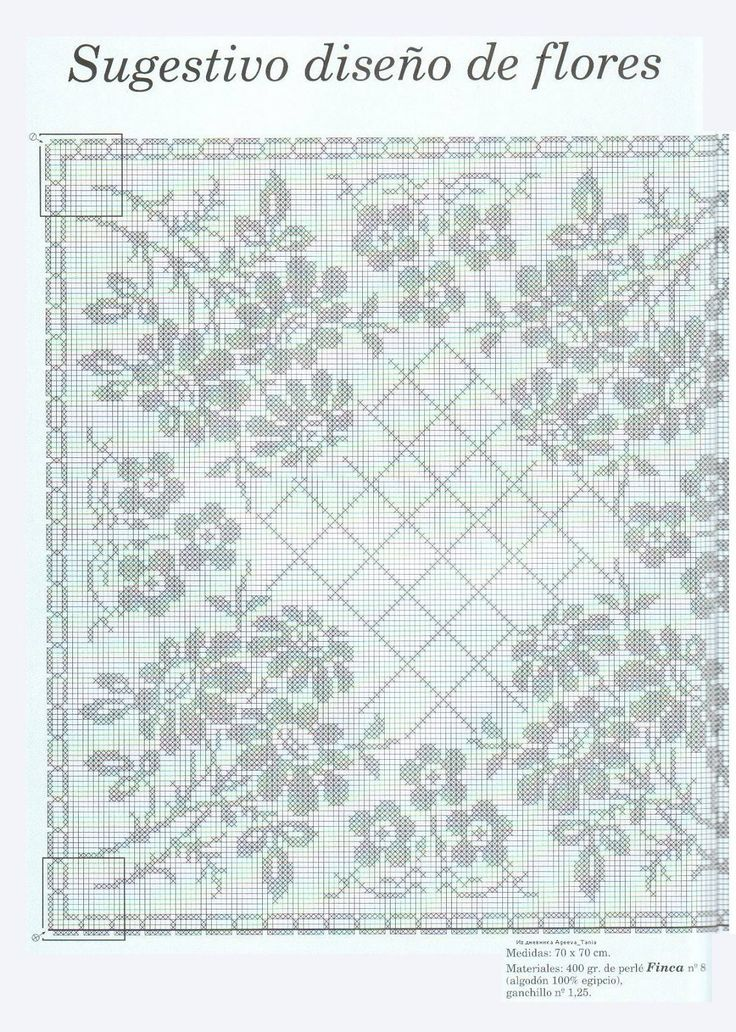Crochet: Tablecloth with flowers - fillet crochet