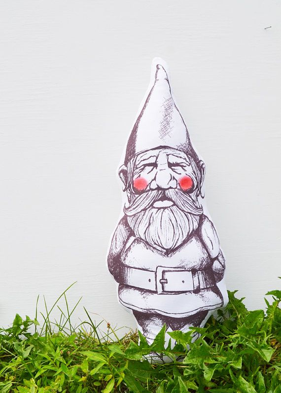 Petit Lutin  Little Gnome Pillow  Handmade by TwillandPrint, $35.00.