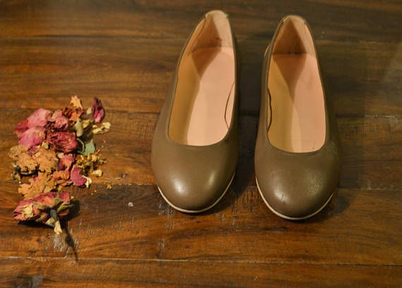 Chocolate brown Leather Ballet Flats ballerina pumps