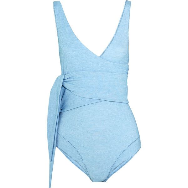 Lisa Marie Fernandez Dree Louise stretch-denim wrap swimsuit (750 SGD) ❤ liked on Polyvore featuring swimwear, one-piece swimsuits, swimsuit, blue, swimming costume, wrap swimsuit, v neck one piece swimsuit, blue swim suit and long swimsuits