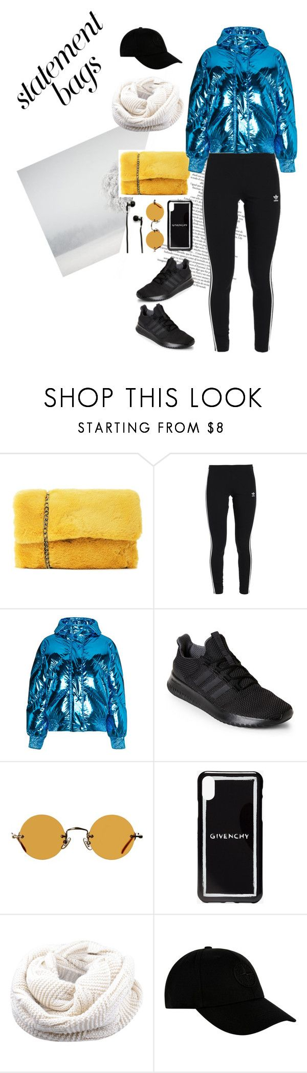 """""""Statement Bags Active"""" by neonlace ❤ liked on Polyvore featuring Nasty Gal, adidas Originals, Ienki Ienki, adidas, Hakusan, Givenchy, STONE ISLAND, Master & Dynamic and statementbags"""