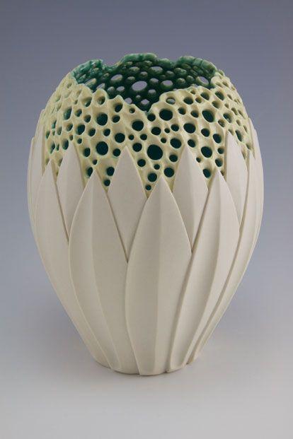 "Simon van der Ven   Making objects for warmth, light & nourishment - Illuminated Lotus Vase I - 6.5""h x 5""w, porcelain, $750"