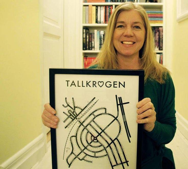 Allt började med en köksrenovering. Nu har Stina Hagström, designer och Tallkrogenbo, formgivit flera kartor över Tallkrogen, Gubbängen och Gamla Enskede. Och beställningarna trillar in.