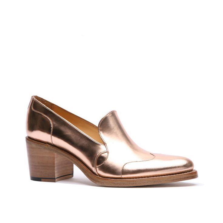 Rose Gold Shoes | Mid Heel Shoes | Slip On Loafer