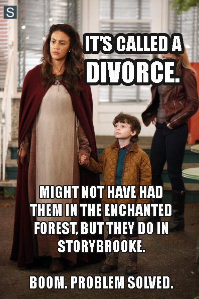 Why doesn't Robin just DIVORCE Marian if he's in love with Regina? Divorce is not unheard of in Storybrooke - hello, David and Kathryn Nolan anyone?! Then Regina can stay good, Marian can live & move on (which she wouldn't have without the time travel), BOOM, problem solved.<<<MY THOUGHTS EXACTLY!!!!!!!!!