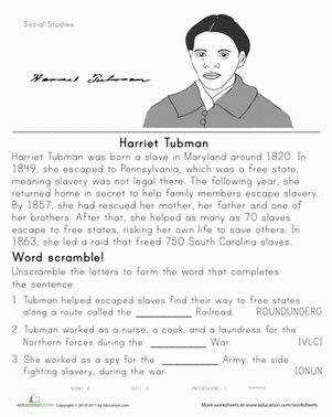 Black History Month Third Grade History Worksheets: Historical Heroes: Harriet Tubman