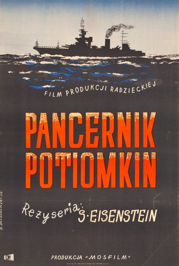 "Polish re-release one-sheet by Zygmunt Anczykowski (1954) ""Though Polish film posters are popularly (and deservedly) celebrated for their fabulous weirdness, the two posters for Potemkin below are actually quite straightforward, harking back to an earlier, more representative era in Polish design."""
