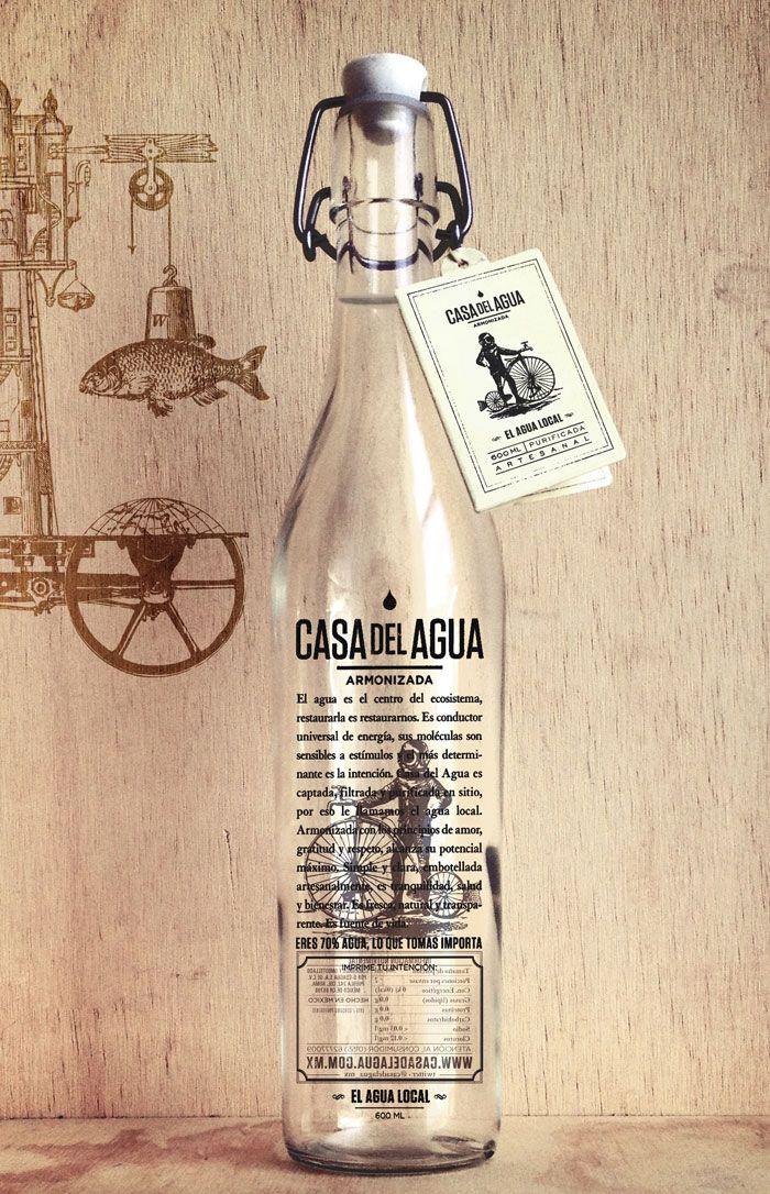 Water Bottle, Mexico Cities, Vintage Bottle, Packaging Design, Graphics Design, House, Bottle Design, Water, Delagua