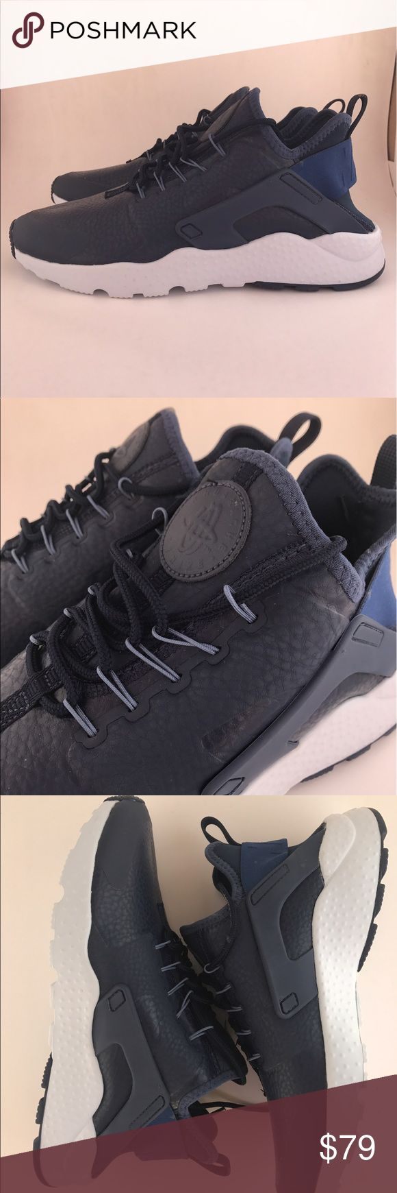 W Nike Air Huarache Run Ultra PRM Authentic and new Nike Air Huarache Run Ultra Premium sportswear shoes for women, Navy blue and white...soft leather like uppers....size 8 women's Nike Shoes Sneakers