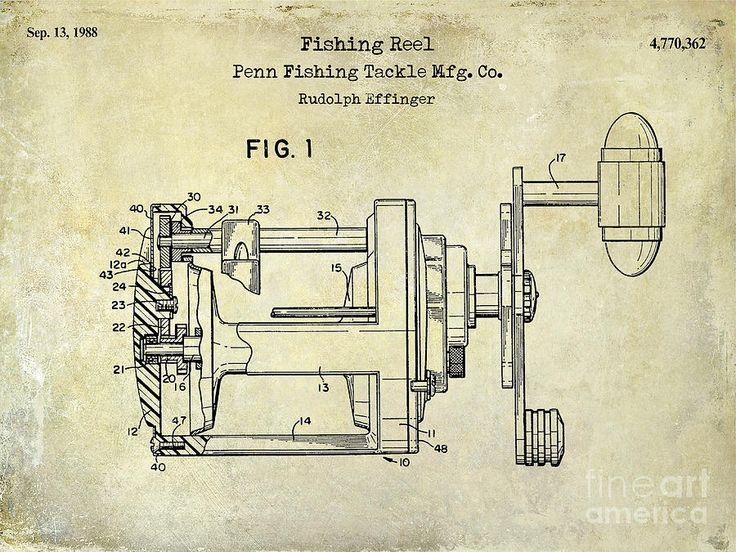 1988 Penn Fishing Reel Patent Drawing Photograph