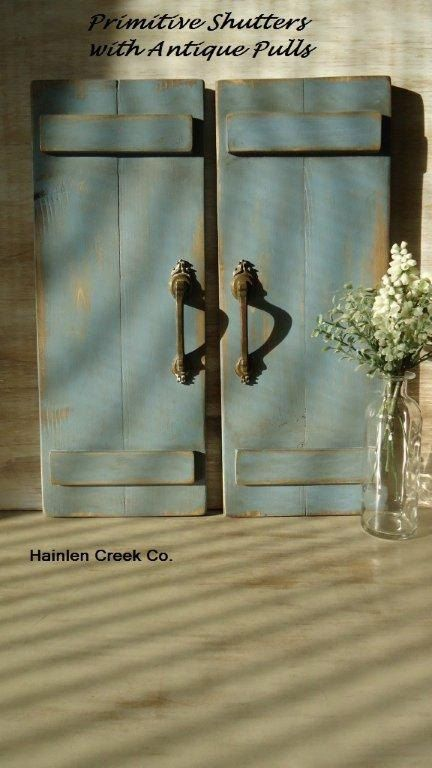 Rustic Country Primitive Decor, Handemade Wooden Shutters w Vintage Brass Pulls