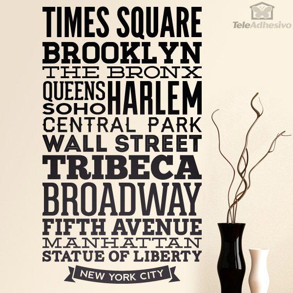 Vinilo decorativo Tipográfico Calles de Nueva York