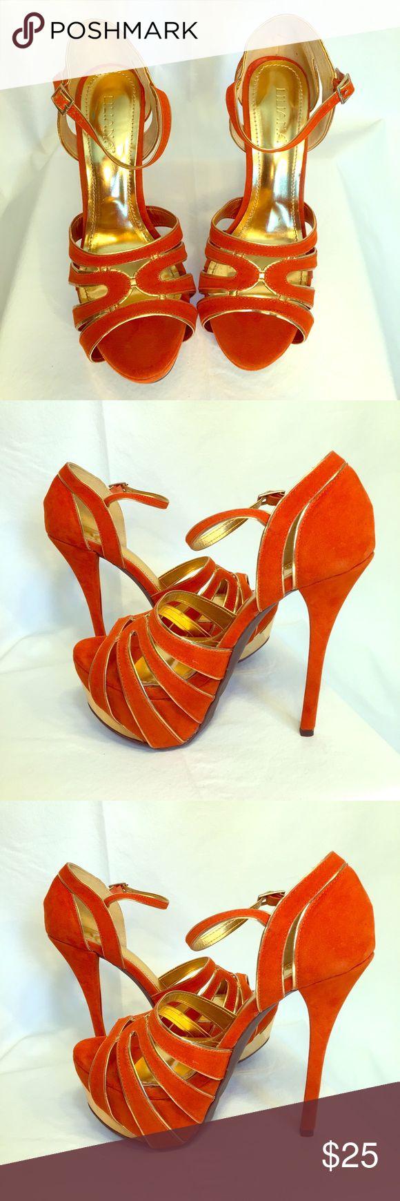 Orange and gold Liliana 6in platform stilettos Orange and gold Liliana 6in platform stilettos Liliana Shoes Heels