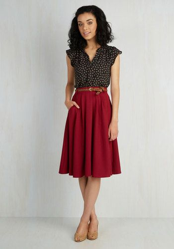 Breathtaking Tiger Lilies Midi Skirt in Merlot - Red, Solid, Work, Belted, Woven, Pleats, Pockets, Fall, Best Seller, 50s, Full, 4th of July Sale, Minimal, Top Rated, Variation, Mid-Rise, Exclusives, Long, Holiday Party, Valentine's, Colorsplash