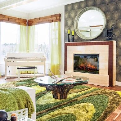 Foyer électrique dans un salon éclectique - Salon - Inspirations - Décoration et rénovation - Pratico Pratique