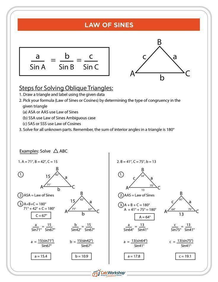 Law Of Sines Worksheet Answers What Is The Law Of Sines Simply Explained With 4 Examples Law Of Sines Math Methods Math Formulas Law of sines worksheet answers