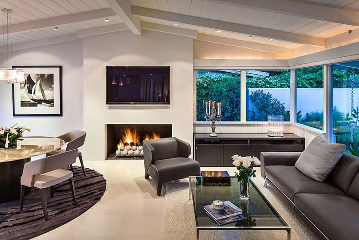 Contemporary living room with gas fireplace and fire pit balls - Decoist