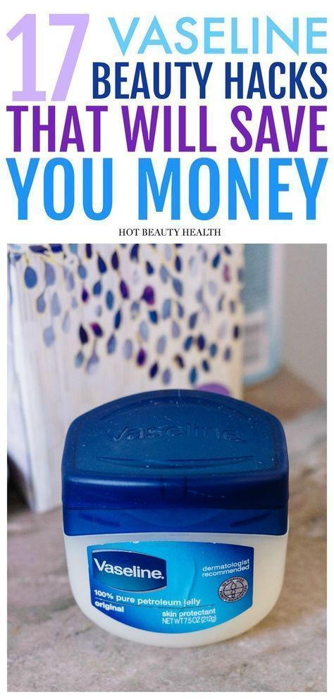 17 Awesome Vaseline DIY Beauty Hacks and Tips. Petroleum Jelly isn't just for protecting your lips. It has many other cool uses as well: from skin care, hair care, makeup, enhancing perfume scents, and more remedies. These hacks will help you save money on beauty products in the long run! Hot Beauty Health #diybeauty #vaseline #hacksandtips #tipsandtricks #skincare #savemoney #haircarehacks #runninghacks