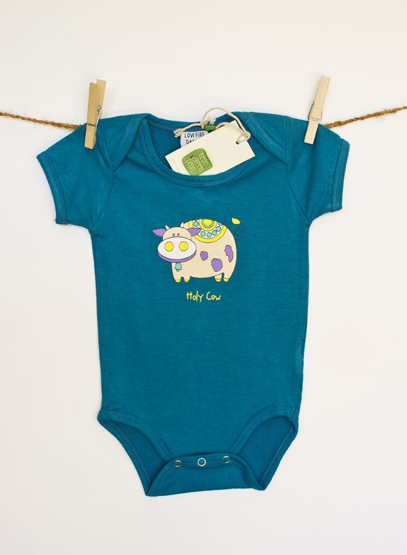 Unisex Organic baby onesie -holy cow.Available in 0-3m, 3-6 m and 6-12 m via www.meangreenbean.com.au