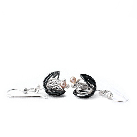 """""""Black and White Blossom"""" earrings. Oxidised/blacken sterling silver. fresh water pearls."""
