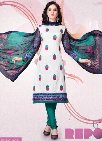 Mayur 1605 - White & Green Color Cotton Designer Suit