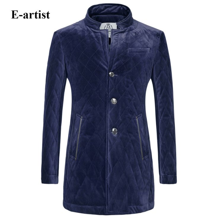 E-artist Men's Slim Fit Casual Long Velvet Padded Jackets Coats Male Thicken Winter Parkas Outwear Overcoats Plus Size 5XL A66