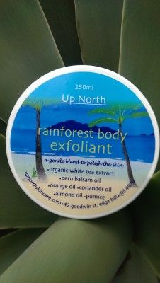 Rainforest Exfoliating Face & Body Scrub | Up North Skin Care   A fragrant blend of essential oils and fine pumice this delicate face and body scrub with skin-polishing and refining properties will assist in the removal of surface impurities and dead skin cells, revealing smoother skin with a radiant glow. This scrub enhances the ability of the Up North essential 7 moisturisers to provide truly exceptional results.