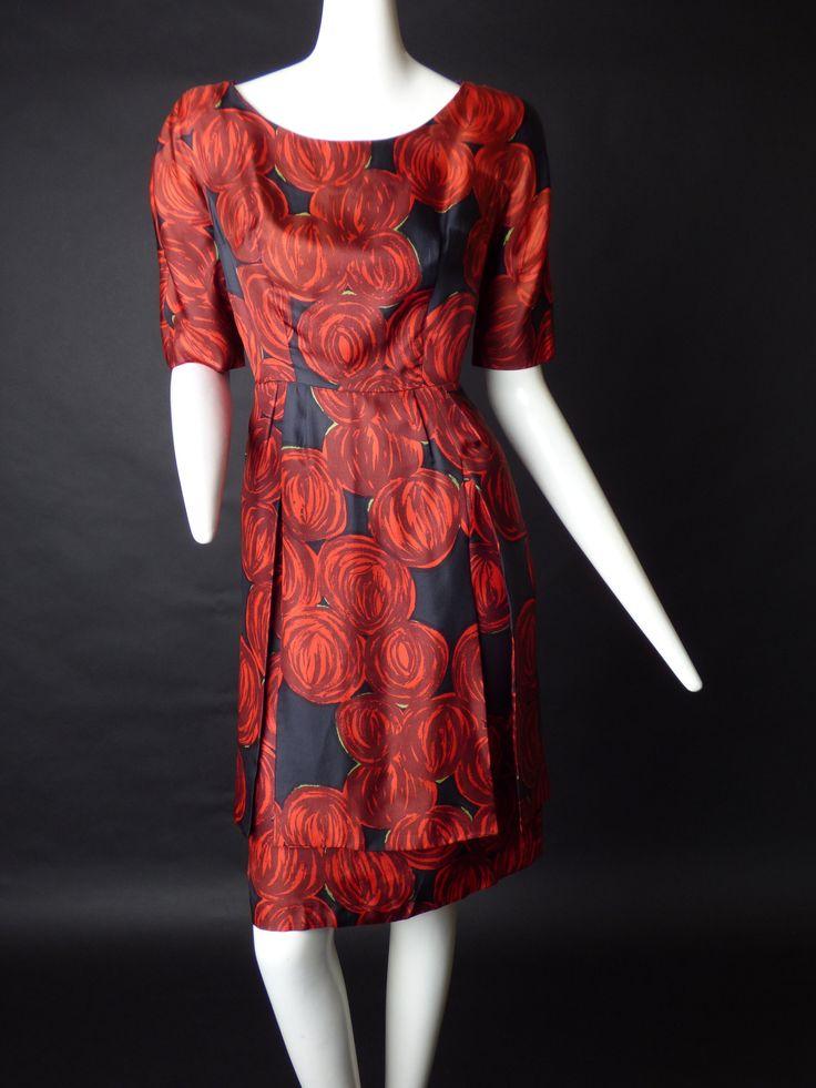 1950s Red & Black Printed Silk Dress, Size-8