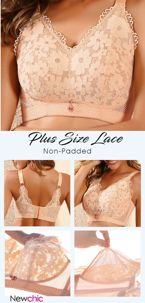 #PlusSize Lace Thin Non-Padded #Wireless Full Coverage #Sexy Bras
