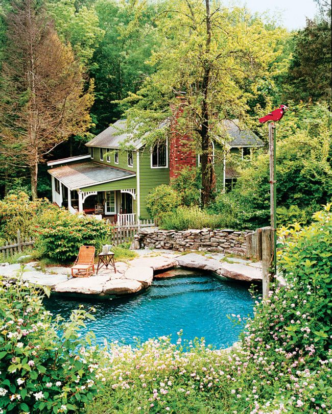 farmhouse with a rock swimming pool- so natural looking