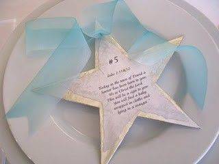 Read the Christmas Story at Christmas dinner--each place card has part of the story. What a beautiful tradition!!