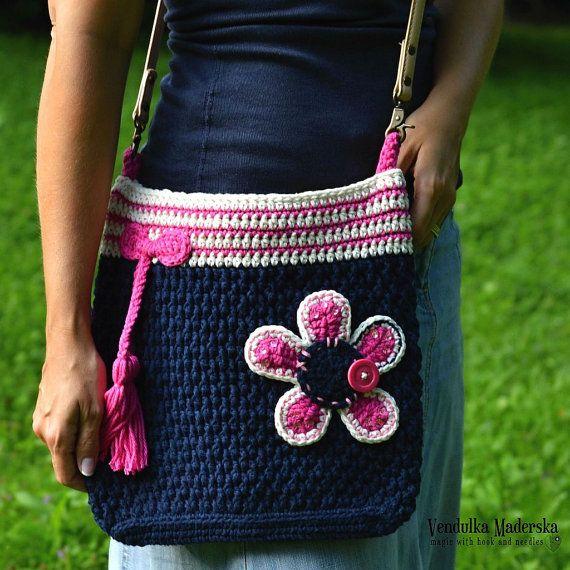 Patrón de bolso de ganchillo patrón bolso de la flor por VendulkaM