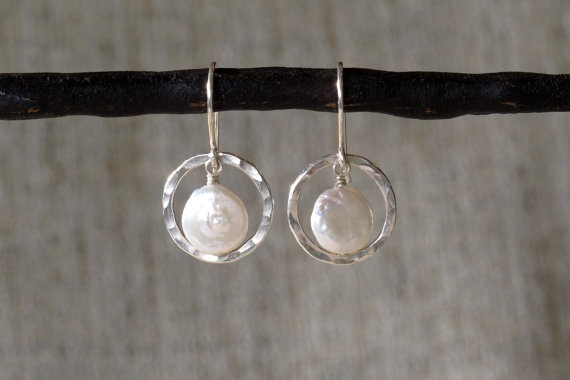 Hammered Sterling Silver Orbit & Fresh Water by silvertwigdesign, $38.00