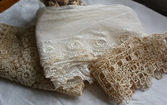 Antique Laces Lovely collection of 3 wonderful by BrocanteArt, £48.20