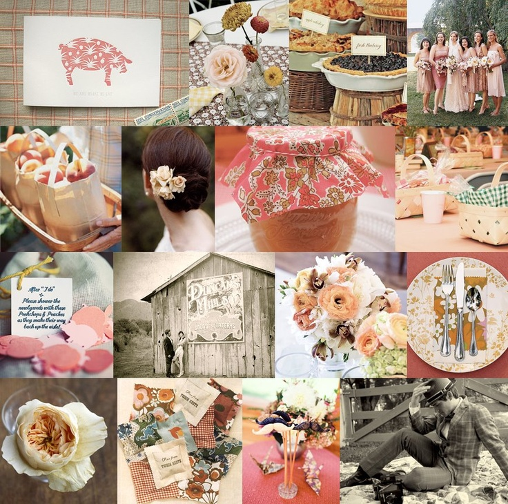 pork and peaches - cute!: Pigs Obsession, Barbecue Wedding, Inspiration Boards, Peaches Theme, Bbq Photos, Colors Schemes, Peaches Pink, Fancy Barbecue, Peaches Pigs
