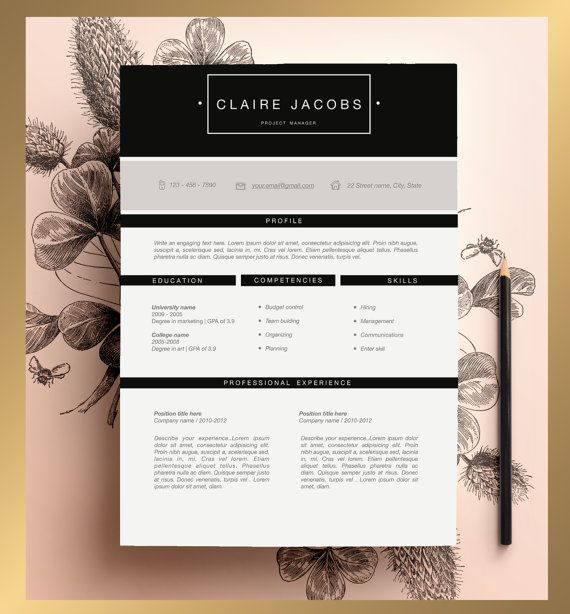 Creative Resume Template Editable in MS Word and por CvDesignCo