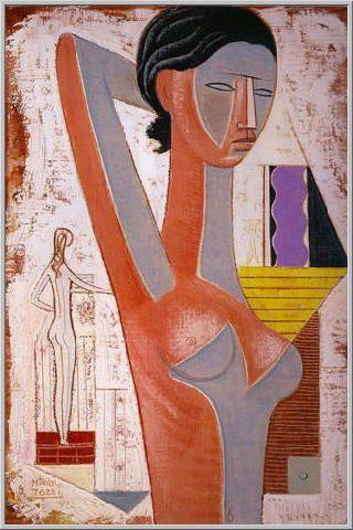 Mario Tozzi 1972: Figura e Nudo. Olio su Tela cm.(73x50) - Collezione Privata Imperia - Archivio n.271 - Catalogo n.72/14.