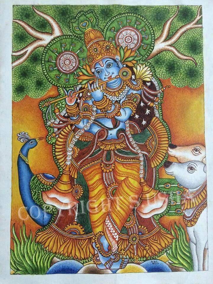 736 best kerala mural paintings images on pinterest for Aithihya mural painting fabrics