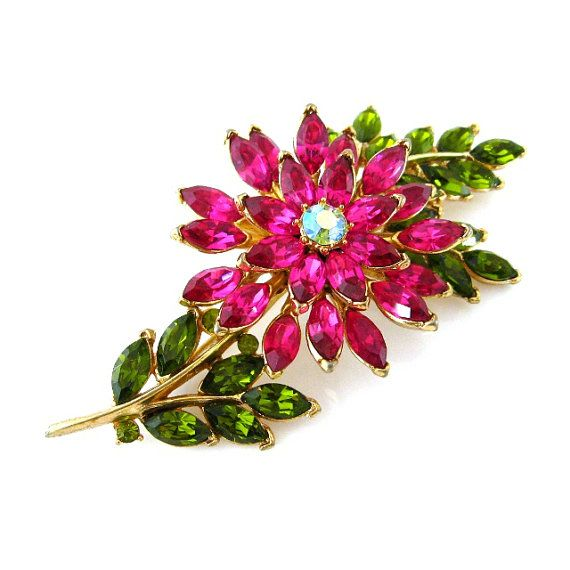 TRIFARI Rhinestone Brooch - Vintage 1960s Pink Green Flower Pin - Signed Costume…