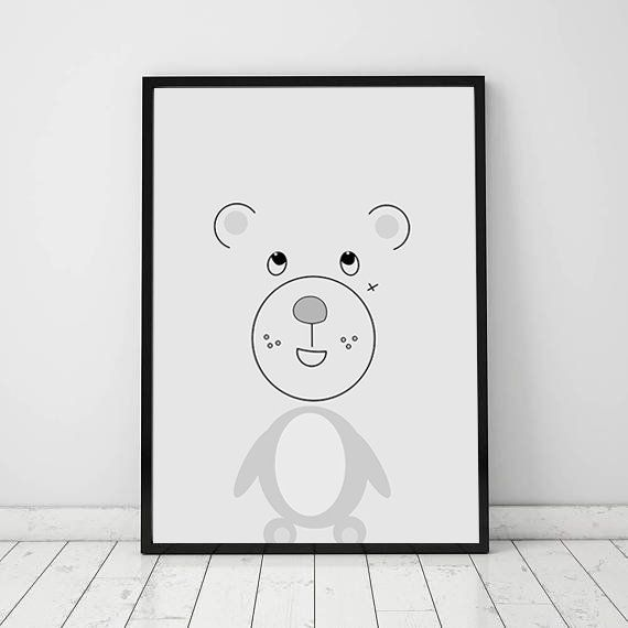 Bear Face Poster Wall Art Kids Room Decor Pastel Bear Print Geometric Poster Nursery Room Bear Kids Poster Animal Poster Nursery Geometric Poster Kid Room Decor Kids Room Wall Art