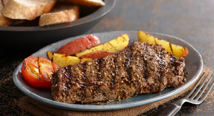 Sweet and Spicy Montreal Steak: The brown sugar in the seasoning rub caramelizes to give the grilled steak a smoky sweet crust.