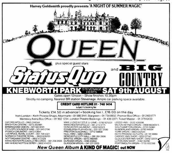 The 1986 Knebworth Concert Queen, Status Quo, Big Country