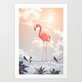 FLAMINGO & FRIENDS Art Print